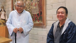 Fr. Columbano Adag introduces Dr. Bibiano Fajardo to the monks at the monastery.