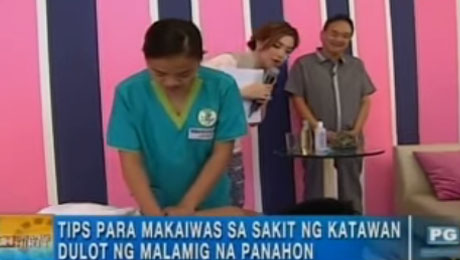ATHAG manghihilot Jhen Dellosa demonstrates how to determine imbalances in the body through Hilot on GMA-7's morning show, Unang Hirit.