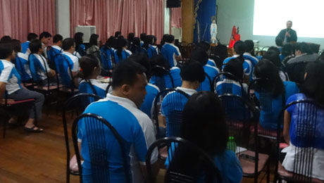 Bibiano Fajardo talks about Hilot  at the  Immaculate Heart of Mary College