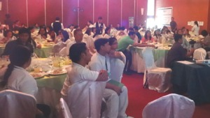 Massage therapists from Laguna and Batangas listen to Albularyo Boy Fajardo lecture on Hilot